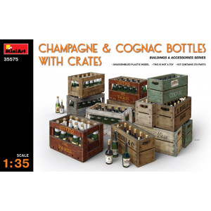 Champagne cognac bottles with crates